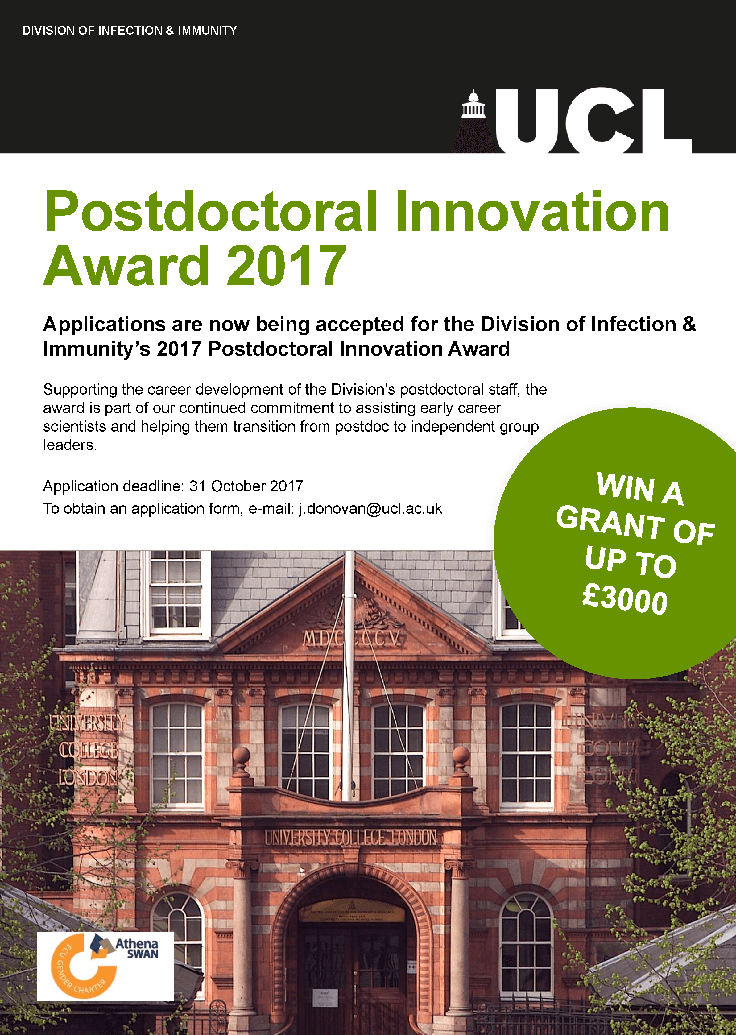Postdoctoral Innovation Award 2017 | UCL Infection and Immunity