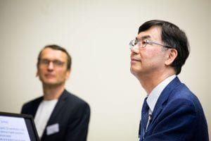 Professor Shimon Sakaguchi from Osaka University (right) pictured with Professor Hans Stauss, IIT Director at the 2018 IIT Symposium