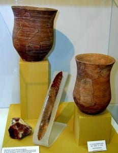Figure 4 - Artifacts typical of the 'Bell Beaker' culture. CC BY-SA 3.0 https://commons.wikimedia.org/wiki/File:Beakerculture.jpg#file