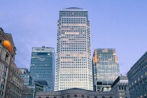 Photograph of One Canada Square (Canary Wharf) taken from Cabot Square.