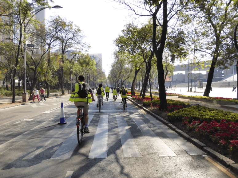 Cyclists in Mexico City