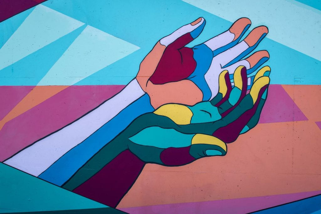 Mural of cupped hands