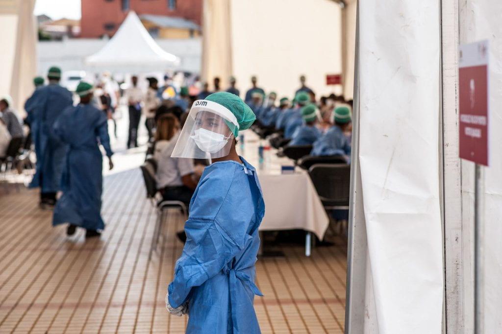 Medic in covid testing centre
