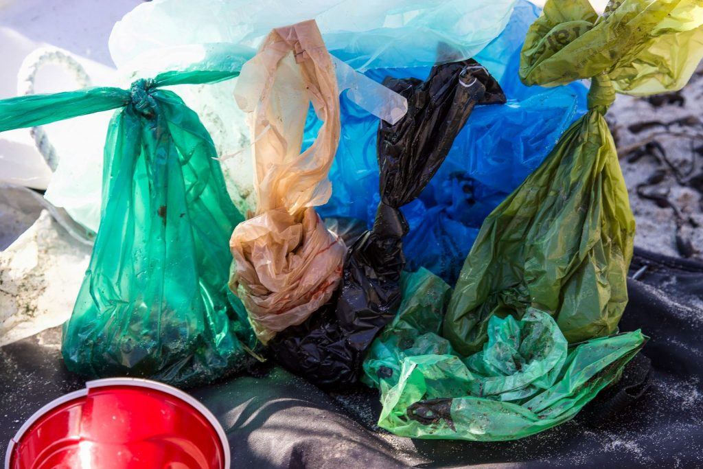 plastic bags in different colours at lanfill