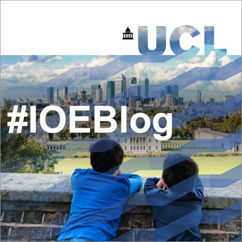 #IOEBlog on a photo of two boys looking out over the Greenwich skyline