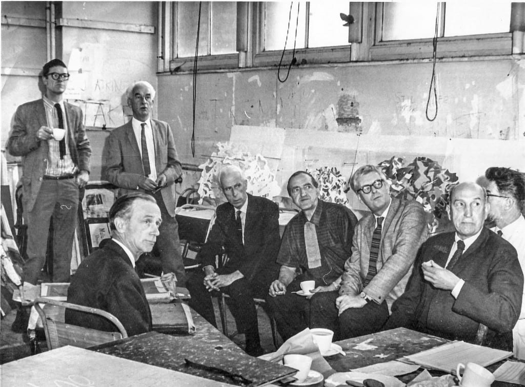 Professor William Coldstream (front left), Andrew Forge (top left) and William Townsend (right of Forge) represent the Slade at this gathering in 1966, which is thought to be the Dip Examination Committee.