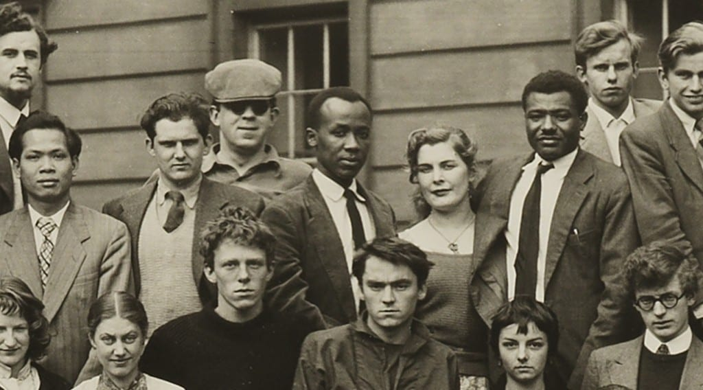 El-Salahi (centre) and fellow students at the Slade, 1956.