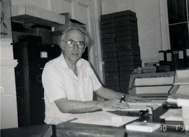 Stephen Chaplin working on the Slade archive, c. 1992