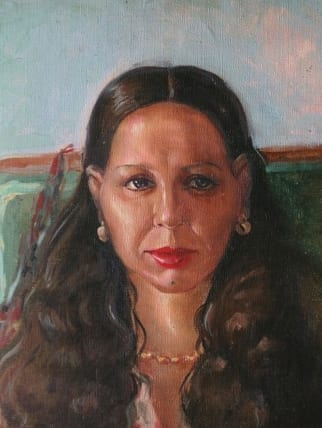 Fig1 Ibrahim El-Salahi 'Portrait of a Woman from Egypt', (1950-54) Oil on canvas, 31.5 x 38cm Collection Eve El-Salahi