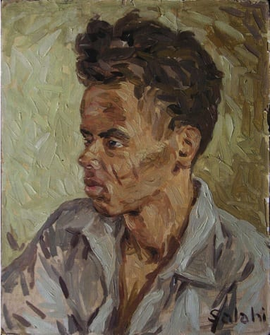 "Fig. 2. Ibrahim El-Salahi 'Portrait of a Young Man' , 1950-54 Oil on paper, 14 7/8 x 12"" Collection of Eve El-Salahi"