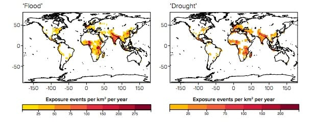 Exposure risk to floods and droughts in 2090. Royal Society (2014)