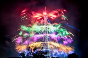 Fireworks over Eiffel Tower.