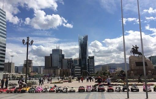 Ulaanbaatar's Sukhbaatariin Square, photo R. Empson.