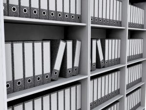 3D render of files on bookshelves
