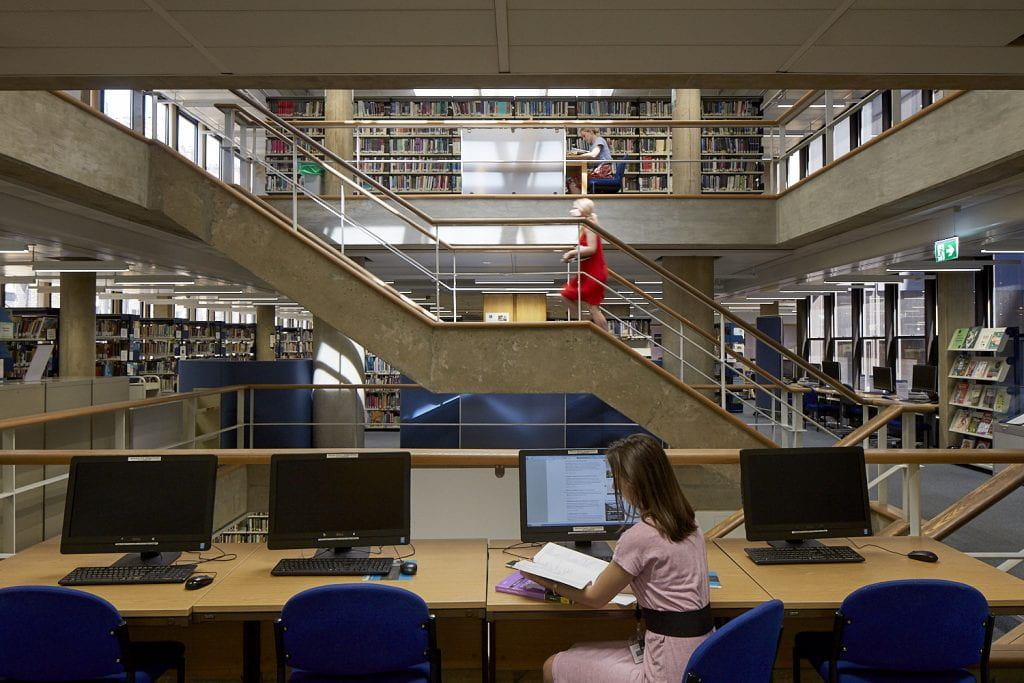 IOE students studying in the Newsam, Library