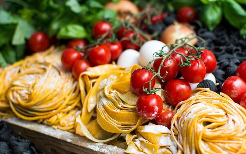 Pasta. cherry tomatoes and mozarella