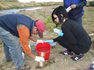 Water sampling at the Pazna River