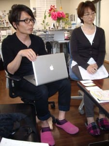 Okamoto Shoma  and his mother Keiko Shoma in the Save Takata office