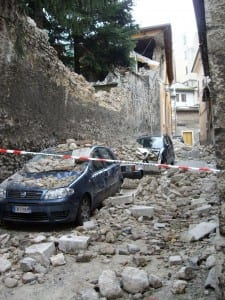 L'Aquila city centre (2009) following the magnitude 6.3 earthquake (photograph taken by Dr Joanna Faure Walker).