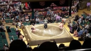 Beginning of a sumo bout at the sumo arena, Tokyo