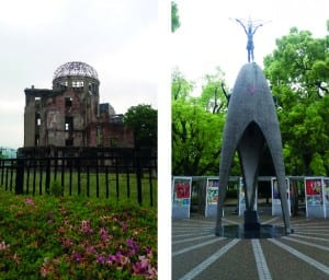 Left: The Genbaku Dome in Hiroshima, the bomb exploded about 600m above this building. Everyone inside was killed instantly. Right: Children's Peace Monument to commemorate all the children who dies as a result of the bomb.