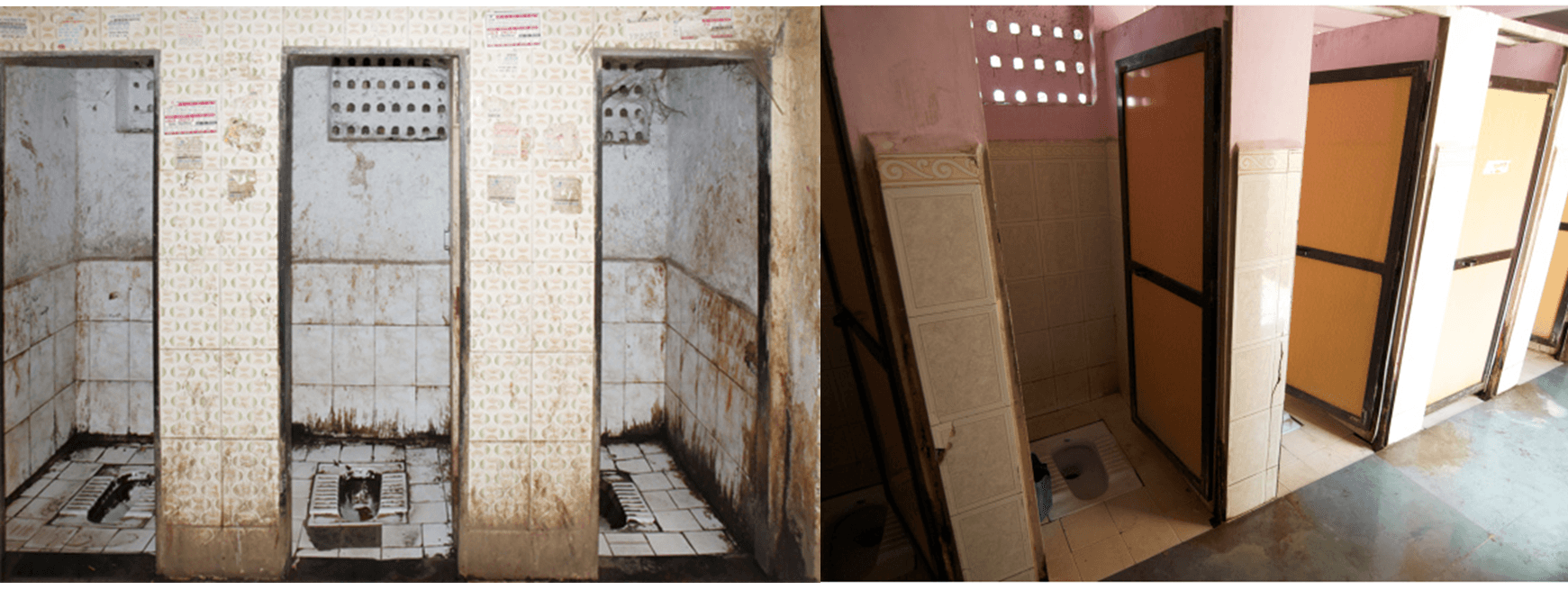 mumbai slum sanitation ucl encyclopaedia of political ecology toilets in the slums in mumbai before left and after right the implementation of the programme image 1 mammoth website 2011 image 2 mhs blog 2010