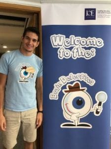 This is me (!) next to the fantastic Brain Detectives banner. Please, note the wooden badge on my t-shirt - directly from the Institute of Making!