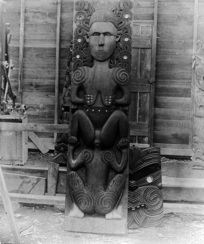 Lloyd, Charles Augustus, d 1930. Lloyd, Charles A fl 1880s-1912 (Photographer) : Maori wood carving of the goddess Hine-nui-te-po, and Maui. Original photographic prints and postcards from file print collection, Box 14. Ref: PAColl-6585-10. Alexander Turnbull Library, Wellington, New Zealand. http://natlib.govt.nz/records/22708288