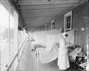 Spanish Influenza at Walter Reed Hospital in Washington, D.C. 1918  Photograph: Wikipedia