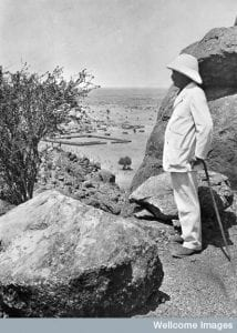 Sir Henry Wellcome at the Jebel Moya excavations Credit: Wellcome Library, London.