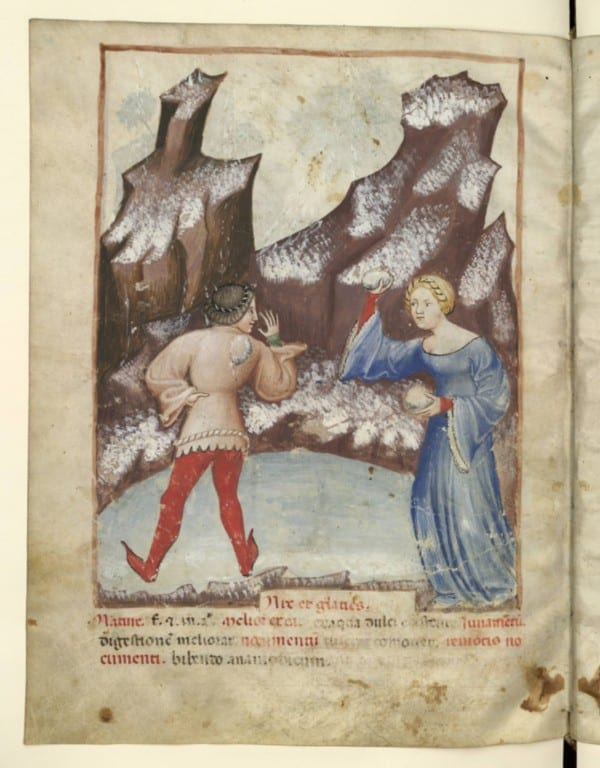 Medieval snowball fight flirting
