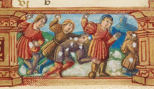 Aggressive medieval snowball fight