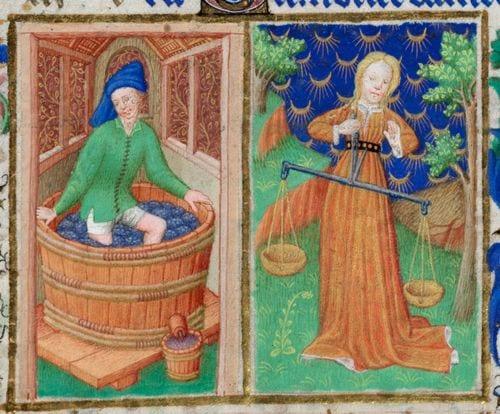 September medieval calendar page