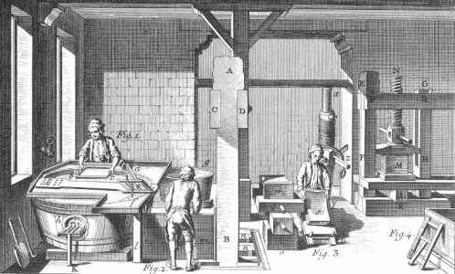"On the left, the vatman pulls the mould from the vat, before passing it to the coucher on the right hand side of the image, who removes the sheet from the mould before pressing a number of sheets at the same time in a large press. (Image credit: ""Papermaking. Plate X"" The Encyclopedia of Diderot & d'Alembert Collaborative Translation Project. CC BY-NC-ND 3.0)"