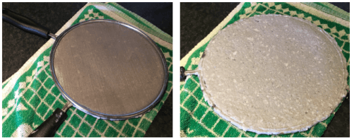 (Left) Pressing the sheet of fibres between two splatter guards. (Right) After the top guard is removed, the pressed sheet of paper is revealed. The circular shape is due to the shape of the mould. (Image credits: Both Hannah Wills)