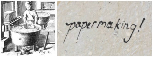 "(Left) After pressing, the sheets are dipped into large tub containing size. This step is important if the paper is to have a slightly waterproof quality that enables it to be written on without the ink spreading. (Right) Writing with ink on untreated sheets results in the ink spreading out across the paper. (Image credits: Left ""Papermaking. Plate XI"" The Encyclopedia of Diderot & d'Alembert Collaborative Translation Project. CC BY-NC-ND 3.0. Right Hannah Wills)"