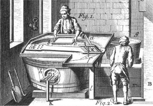 "An eighteenth-century vatman dipping the mould into the vat. (Image credit: Detail ""Papermaking. Plate X"" The Encyclopedia of Diderot & d'Alembert Collaborative Translation Project. CC BY-NC-ND 3.0)"