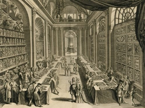 Aristocratic visitors handle objects and books in a Dutch cabinet of curiosities, Levinus Vincent, Illustration from the book, Wondertooneel der Nature - a Cabinet of Curiosities or Wunderkammern in Holland. c. 1706-1715 (Image credit: Universities of Strasbourg)