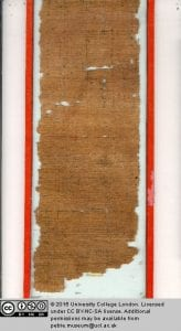 Papyrus showing mathematical calculations in Hieratic script.