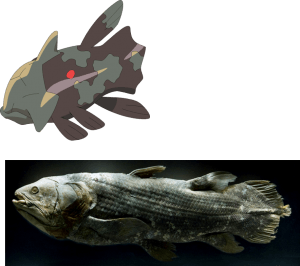 Top: Relicanth (Image: https://vignette3.wikia.nocookie.net/pokemon/images/a/ad/369Relicanth_AG_anime.png/revision/latest?cb=20141006041759); Bottom: Coelacanth (Image: http://vertebrates.si.edu/fishes/coelacanth/coelacanth_wider.html)