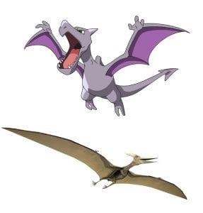 Top: Aerodactyl (Image: https://bulbapedia.bulbagarden.net/wiki/Aerodactyl_(Pok%C3%A9mon ); Bottom: Pterodactyl (Image: http://dinosaurpictures.org/Pterodactyl-pictures)