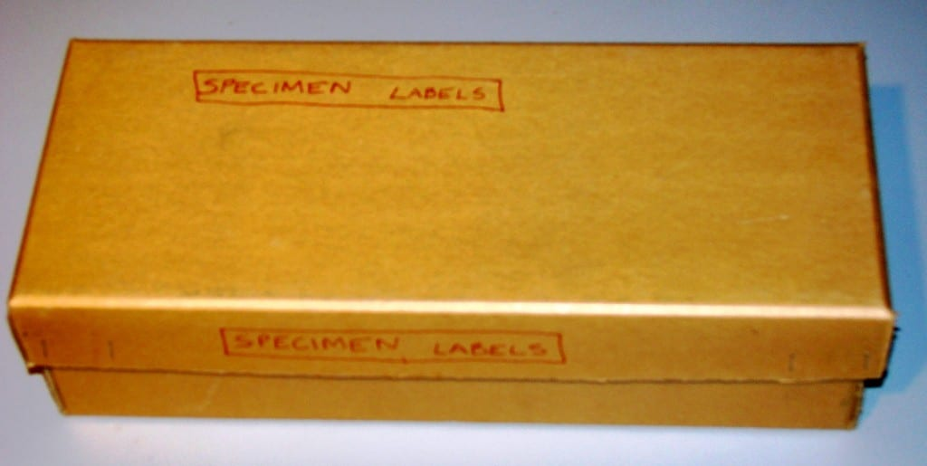 Image of a Grant Museum box labeled Specimen Labels