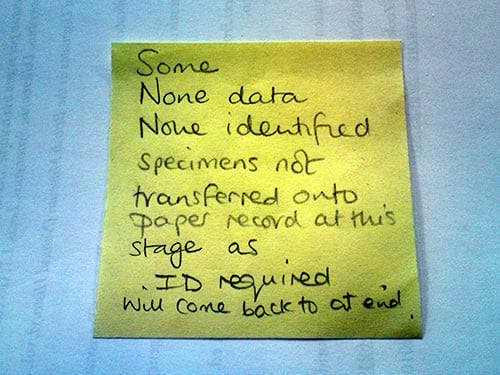 A post it note which reads Some none data none identified specimens not transferred onto paper record at this stage as ID required zill come back to at end