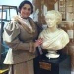 Image of Amelia wdwards' bust with Kim Hicks.
