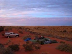 Basic camp on dune crest
