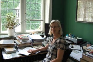 Tine at work in her office
