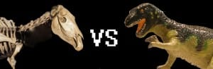 Image of the Grant Museum Quagga skeleton versus a plastic Tyrannosaurus