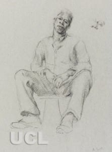 Sketch of Seated Male Figure looking directly at viewer