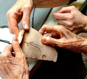 Object handling session in a care home.