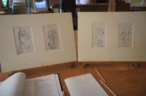 John Flaxman's drawings displayed on easels during a research visit